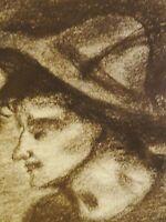 ALBERT WALLAT (1917-1997) Kohlezeichnung: JUNGER BAYER MIT HUT MIT GAMSBART