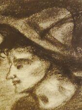 Albert wallat (1917-1997) charbon dessin: jeune Bayer avec chapeau à gamsbart