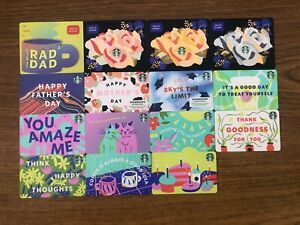 15 NEW STARBUCKS 2021 MOTHERSDAY FATHERS DAY GRAD & VARIOUS GIFT CARDS LOT