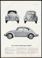 1960 VW Volkswagen Beetle classic 3 car photo Homely? vintage print ad