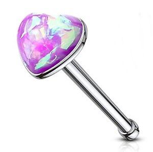 """Nose Bone Ring Heart w/Glitter Opal Purple 3mm Head 20 Gauge 1/4"""" Steel Body Jew"""