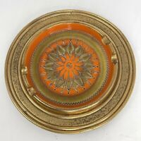 Mid Century Modern Gold Orange Avocado Italian Etched Ceramic Ashtray 10 Inch