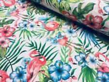 Pink Flamingo Bird Floral Fabric & Tropical Palm Leaf dress curtains -280cm wide