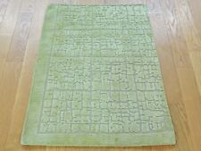 2'x3' Modern Raised Pile Hand Knotted Wool And Silk Oriental Rug R25332