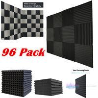 "96 Pack Acoustic Foam Soundproof Tiles Studio Wedge Panels Charcoal 1""x 12""x 12"""