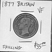 GREAT BRITAIN - BEAUTIFUL HISTORICAL QV SILVER SHILLING, 1877, KM# 734.2