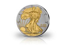 American Eagle 1 Onza Moneda de Plata 2020 Ee.uu. Con 24 Quilates Apliques Oro
