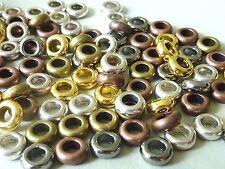 30 Großloch Metall Perle Spacer Donut gold silber kupfer bronze 7 mm Mix 2849