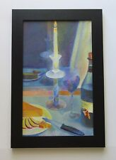 VINTAGE MODERNIST PAINTING SIGNED MYSTERY ARTIST WINE AND CHEESE CANDLE LIT