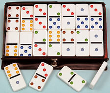 Plastic Double Six Dominoes - Coloured Spots - Traditional Family Game - Ref:117