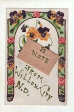 Vintage Post Card -  A Note from Willow City North Dakota