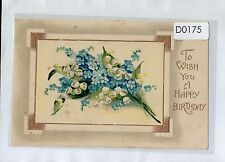 D0175rkh Greetings To Wish a Happy Birthday Flowers BB vintage postcard