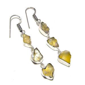 "Citrine Gemstone Handmade 925 Sterling Silver Jewelry Earring 2.5"""