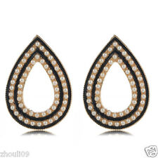HOT Woman Statement clear crystal Rhinestone long Ear Studs hoop earrings 1055
