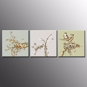 FRAMED CANVAS PRINTS Poster  Flower bird Paintings Wall Art For Home Decor-3pcs