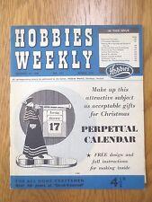 Vintage HOBBIES WEEKLY Magazine December 3 1958 Perpetual Calendar & Pattern