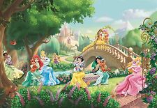 368x254cm Girls room green Wall mural Wallpaper Disney Princess Palace Pets