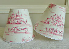 SUPERB FRENCH CANDLE LAMPSHADE PINK TOILE DE JOUY MOTIF 11 x 13 cm WALL LIGHT