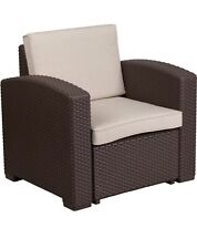 Flash Furniture Chocolate Brown Faux Rattan Chair with Beige Cushion New