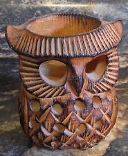 VINTAGE 70'S HAND CARVED WOOD OWL CANDLE HOLDER LUMINARIA LAMP
