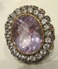 Estate Ring  Amethyst White and Colored Sapphires Silver Black Rodium Sz 7.25