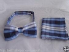 <New>TARTAN Blue/White Bow tie and Hankie Set<Free*>P&P 2UK >1st Class