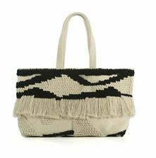 Shiraleah CHANTAL Bohemian Tote Handbag Purse Bag Shopping Bag Ivory, Black