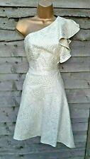 NWT Karen Millen 10 UK Jacquard One-Shoulder Dress Cream Occasion Party Cruise