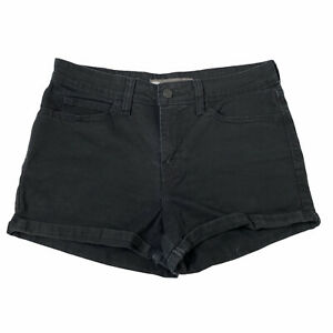Levi's Black Cuffed High Rise Twill Shorts Womens 9