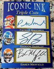 PATRICK MAHOMES SAQUON BARKLEY BAKER MAYFIELD ICONIC INK Triple Cuts Auto FAC