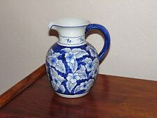 """Blue and White Ceramic Porcelain Pitcher Hibiscus Floral Pattern 8 1/2"""" Tall"""