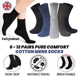 6, 12 pairs Pure Comfort Cotton Men's Socks Standard UK 6-11 / Big Foot UK 10-13