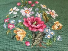 Vintage wool needlepoint seat/chair/pillow cover Green with Spring Floral Garden