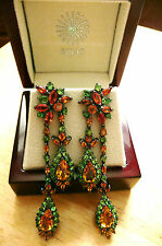 YELLOW ORANGE SAPPHIRE & GREEN GARNET 925 SILVER DESIGNER LONG DROP EARRINGS