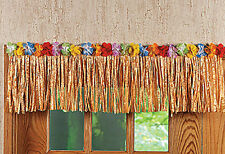 48Ft Tan/Natural Grass Table Skirt Fringe Luau Party Decor Hawaiian Beach Flower