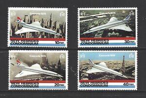 NEW HEBRIDES, BRITISH, # 254-57, MNH, BRITISH AIRWAYS CONCORDE FLIGHT, Set of 4