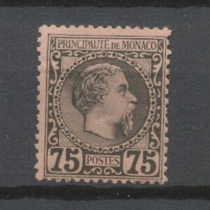 MONACO N°8 75c noir s.rose N* Signé CALVES Cote 415€ P1974