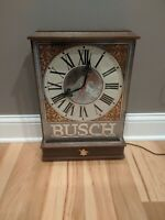 Rare Large Busch Beer Bar Clock Sign Clean Working