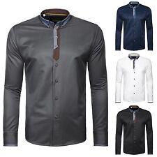 Unifarbene klassische Herrenhemden mit Umschlagmanschette aus Baumwolle