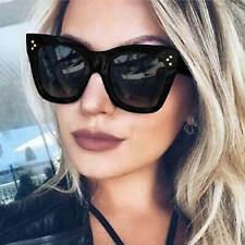 Cat Eye Square Women Sunglasses Retro Fashion Plastic Frame Black Brown Gradient