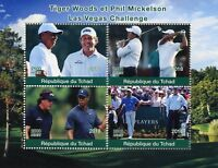 Chad 2018 MNH Tiger Woods Phil Mickelson 4v M/S Golf Sports Stamps