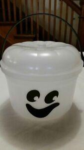 Vintage McDonalds White Ghost Glows In Dark Halloween Pail/Bucket with Lid 1986