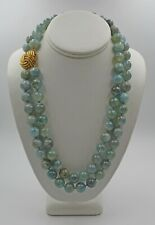 Estate Two-Strand Aquamarine Beaded Necklace Large 14K Yellow Gold Knot Clasp