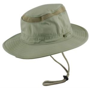 Safari Mesh Pocket Chin Strap Bucket Boonie Hat UPF-50 Sun Protect Breathable