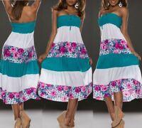 SeXy Miss Damen Blumen Girly Dress Bandeau Midi Kleid XS/S smaragd weiß bunt NEU