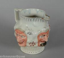 Leeds Pearlware or Creamware Enameled Three Mask Jug circa 1800
