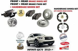 FOR INFINITI QX70 3.0 3.7 5.0 2013-> FRONT + REAR BRAKE DISCS + PADS + SHOES KIT