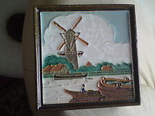 DELFT TILE CLOISONNE, WINDMILL AND MAN IN BOAT, 11.5 CMS X 11.5 CMS APPROX..VGC.