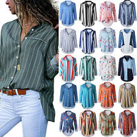 Womens Floral Striped Retro Long Sleeve V Neck Button-Down Casual Blouse Tops