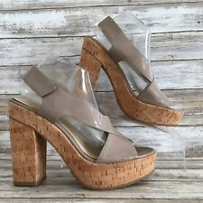 Calvin Klein 9M Tamra Taupe Patent Leather Platform Chunky Block Heel Sandals